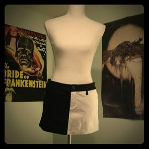 Split B&W Royal Bones Mini Skirt☆Goth/Emo/Punk☆